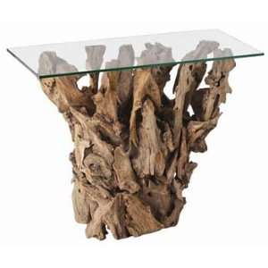 : Arteriors Kingston Driftwood/Glass Console Table: Furniture & Decor
