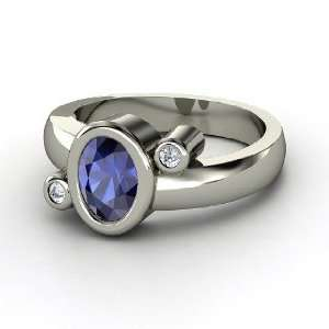 Planets Ring, Oval Sapphire 14K White Gold Ring with Diamond Jewelry