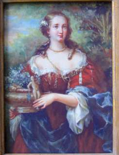 Old Framed printed Portrait Oil painting artnoblewomanon Board 5x7