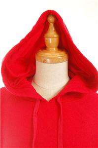 NEW AUTH Donna Karen New York Wool Blends Hooded Caplet Cape Red S