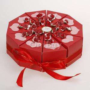 Wedding Favor Boxes Red Cake Slice Box Bridal Shower Centerpiece w