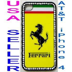 i4) Ferrari Car Logo Crystal Hard Case for AT&T iPhone 4 Cell Phones