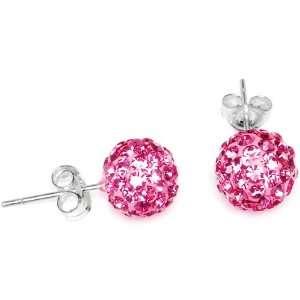 8mm Pink Austrian Crystal Ferido Ball Stud Earrings Jewelry