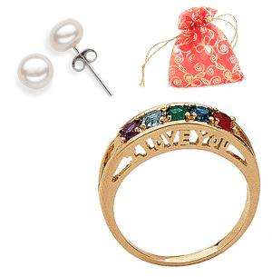 PLATED MOTHER GRANDMOTHER BIRTHSTONE RING   UP TO 14 STONES