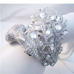 Peacock Bird Bangle Cuff Bridal Clear Swarovski Crystal