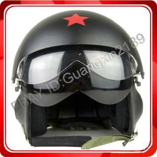 Matt Black Pilot Open Face Motorcycle Helmet S M L XL