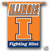 ILLINOIS FIGHTING ILLINI 2 SIDED FLAG 28X 40 BANNER