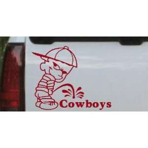 Pee On Cowboys Car Window Wall Laptop Decal Sticker    Red