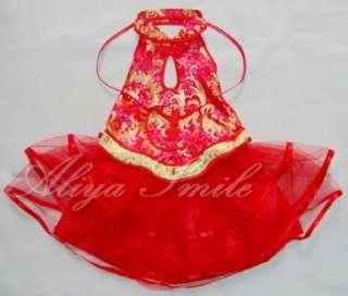 Red Flower Girls Birthday Party Dance Dress SZ 2T 4T 6T