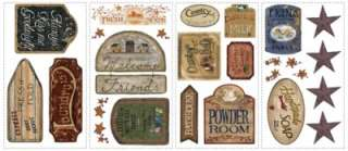 26 New VINTAGE COUNTRY SIGNS WALL DECALS Laundry Bathroom Kitchen