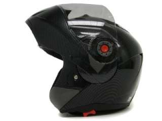 CARBON FIBER FLIP UP MODULAR MOTORCYCLE DUAL SHIELD SMOKE VISOR HELMET