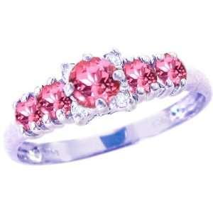14K White Gold Five Stone Gem and Diamond Ring Pink Tourmaline, size5