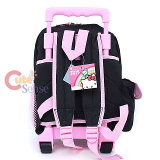 Hello Kitty School Roller Backpack Rollig Bag Black Pink Flowers 4