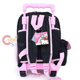 Hello Kitty School Roller Backpack Rollig Bag Black Pink Flowers 4