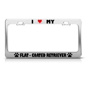 Flat Coated Retriever Paw Love Heart Dog license plate frame Stainless