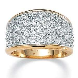 14k Gold Plated DiamonUltra™ Cubic Zirconia Pav Womens Ring Jewelry