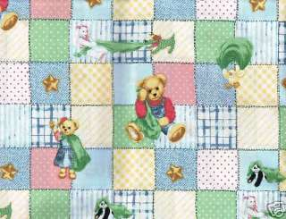 Quilt Quilting Fabric Baby Blue Jean Teddy Bear Blankie Blue Pink