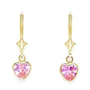14k Yellow Gold October Birthstone Tourmaline CZ Heart Drop Leverback