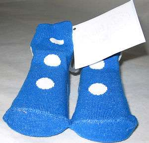 Pair Of MUD PIE BABY White Polka Dot Blue Socks For Baby Boy 0 12