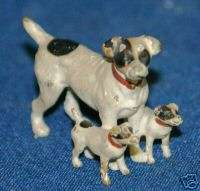 Vintage Painted Bronze Fox Terrier Dog Family Toy 1.5L