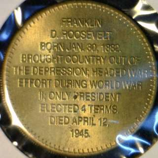 Franklin Roosevelt US MINT Commemorative Brass Medal   Token   Coin