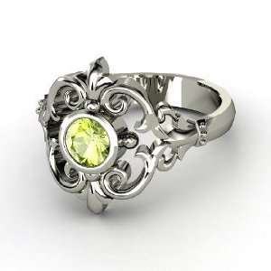 Winter Palace Ring, Round Peridot Sterling Silver Ring Jewelry