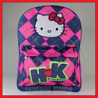 16 Sanrio Hello Kitty Pink Checkered Backpack   Bag