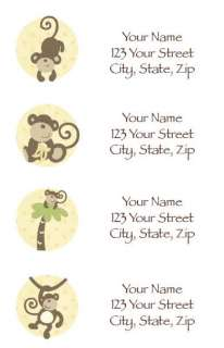 return address labels match the cocalo monkey time nursery decor and