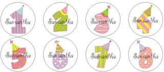 24 Personalized Birthday Number Age Label Stickers Girl