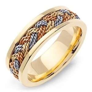 OLYMPOS 14K Tri Color Gold Braided Wedding Band Ring