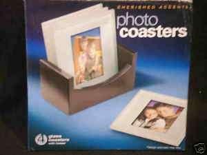 Glass Photo Coaster SET black stand mahogany tone