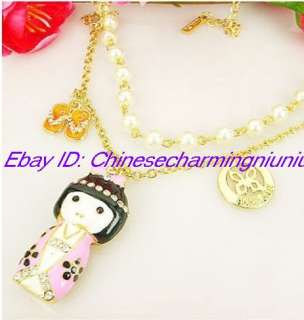 New Lovely Japanese Girl Doll Pendant Necklace