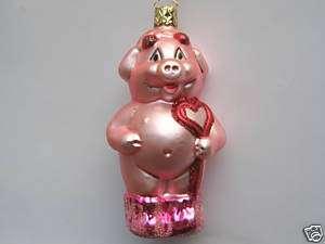 INGE PINK PIG BLOWN GLASS CHRISTMAS ORNAMENT DECORATION