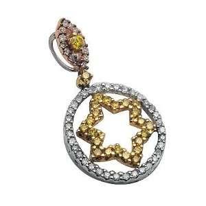 Diamond Circle Star Pendant in White Gold Avianne & Co Jewelry