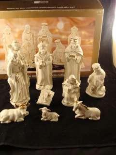 10 Piece Spirit Of The Season Porcelain Nativity Scene In Box