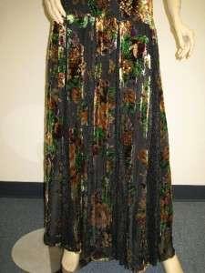 Wong Designer Dress 6 Black Green Brown Flower Beaded Sequin Gown NEW