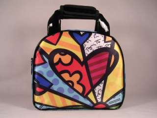 Romero Britto Satin Heart Lunch Bag W/Long Handle NWT