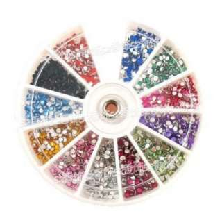 1200 x 2.0mm Nail Art Rhinestones Glitters Round Wheel