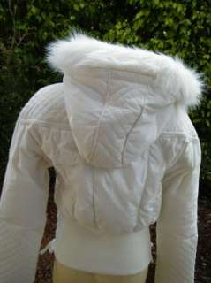 BEBE coat JACKET puffer down 185714 quilted boxy faux fur