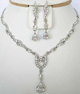 n320 White Swarovski Crystal Bridal Wedding Necklace Earrings Set FREE
