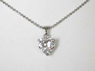 n118 White Heart Luv Swarovski Crystal Necklace Pendant