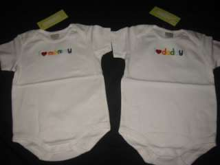 NWT Gymboree I LOVE MOMMY DADDY Onesie Lot 12 18 twins