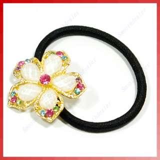 Korea Brilliant Rhinestone Flower Elastic Hair Tie Band