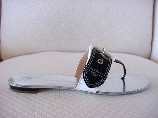 GIUSEPPE ZANOTTI Flat mule shoe crisp black white 9 MINT