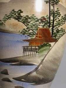 JAPANESE SATSUMA VASE SIGNED MT FUJI GEISHA SCENE