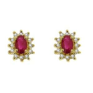 9ct Yellow Gold Natural Ruby & Diamond Stud Earrings Jewelry
