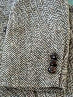 Harris Tweed Brown Herringbone Blazer Sport Coat Jacket 42R