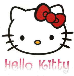 Hello Kitty head red bow glitter 5 Iron On Transfer