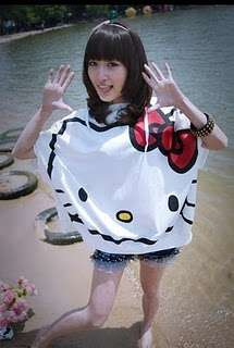 Hello Kitty Loose Oversize Hoodie Shirt Big Print Cute White T Shirt