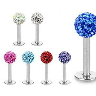 PAVED CRYSTAL GEM STONES LABRET LIP MONROE RING CARTILAGE PIERCING